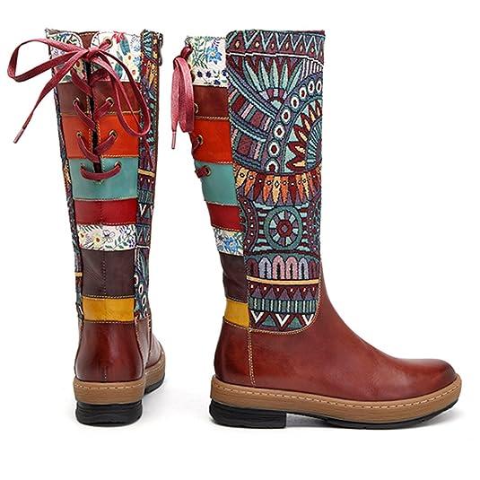 Socofy Botas Altas de Mujer hasta la Rodilla en Cuero Genuino Zapatos de Invierno Tacón bajo Calzado Botas de Montar de Mujer Botas Planas Botas ...