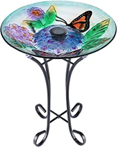 VCUTEKA Glass Bird Bath Solar Birdbath with Metal Stand for Garden Yard Outdoor Decoration