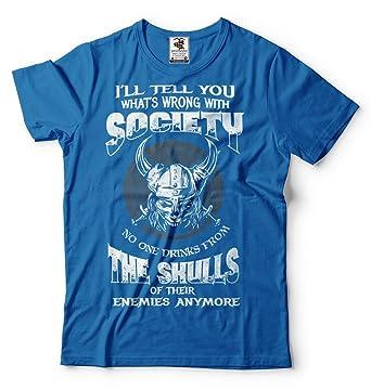 1c4c505a0d Viking T-Shirt Valhalla Viking Skulls Odin Valknut Tee Shirt Small Blue