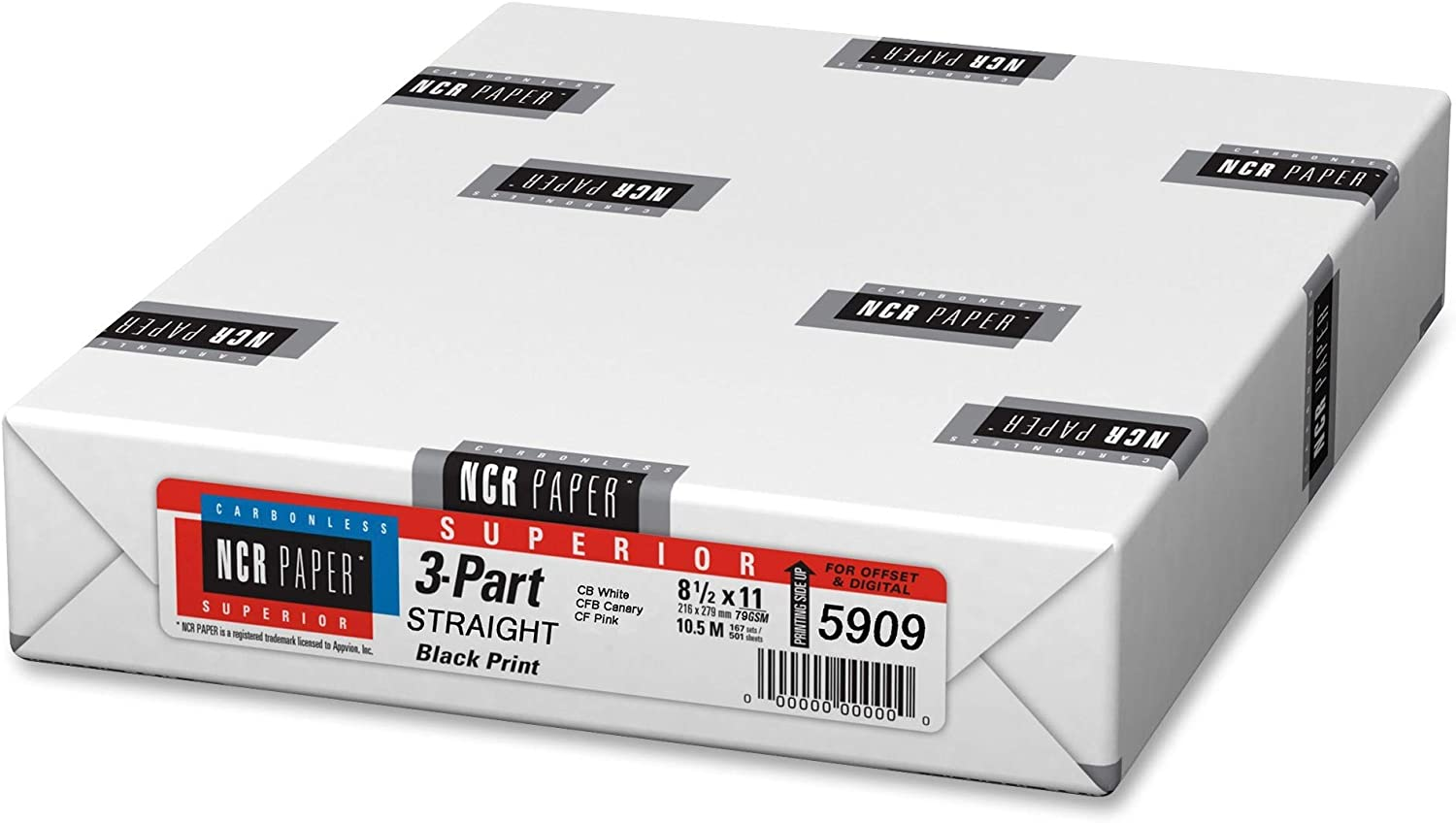 Appvion 5909 Straight Paper, 3-Part, 92GE, 8-1/2-Inch x11-Inch, 500SH/PK : Carbonless Copy Paper : Office Products