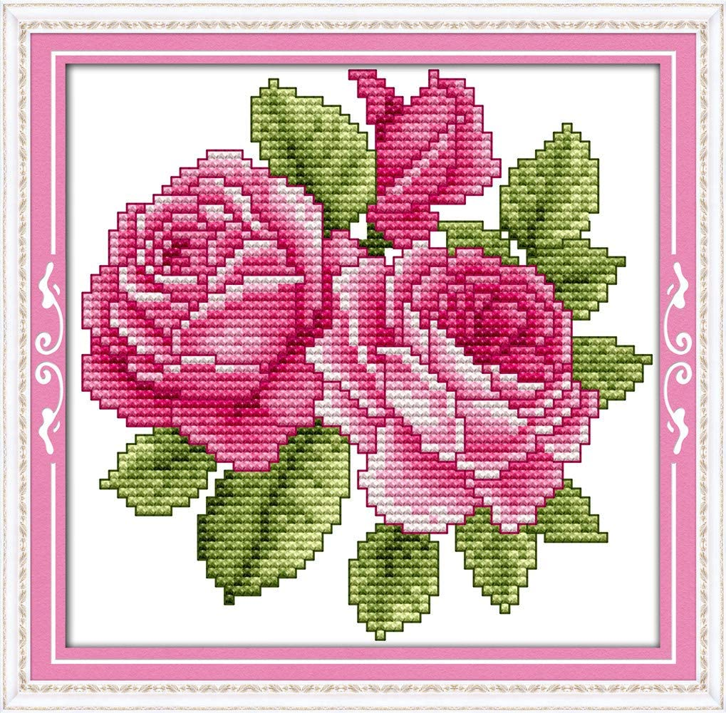 Red Poppy Flowers 11CT 22/×21cm DIY Embroidery Needlework Kit with Easy Funny Preprinted Patterns Needlepoint Christmas YEESAM ART Cross Stitch Kits Stamped for Adults Beginner Kids Red