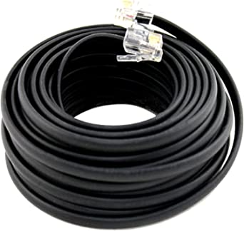 100FT BLACK TELEPHONE EXTENSION PHONE CORD CABLE LINE