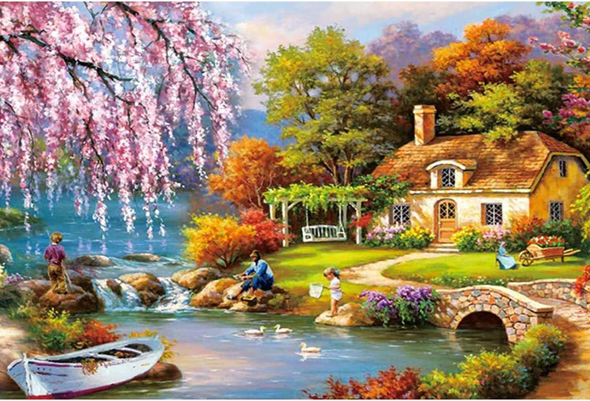 Jigsaw Puzzles for Adults & Kids - 1000 Pieces Forest Landscape Puzzle - Family Funny Decompression Games