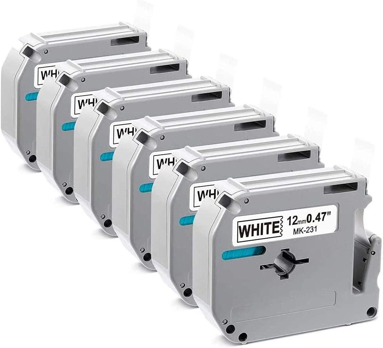 5x Schriftbänder für Brother M-K231 MK-231 MK231 P-Touch 55 60 75 80 85 110 M95