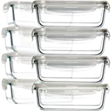 8 Pack Glass Food Storage Containers, BAYCO Glass Meal Prep Containers, Airtight Glass Storage Containers with Lids…