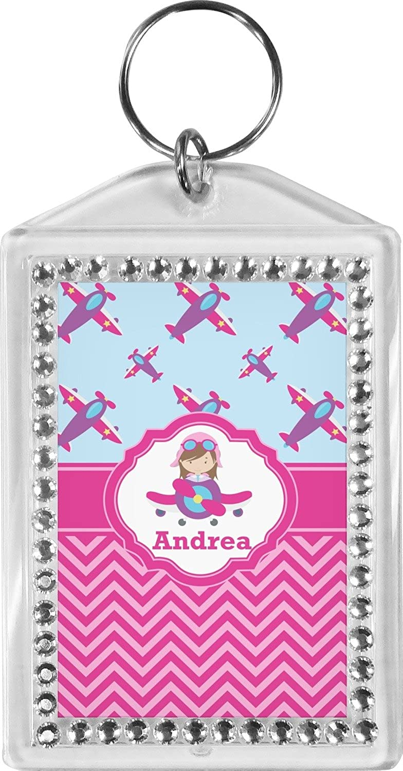 Airplane Theme - for Girls Bling Keychain (Personalized)