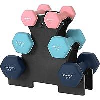 SONGMICS Korte halterset, hexagon, met halterstandaard, 2 x 1 kg, 2 x 2 kg, 2 x 3 kg, matte afwerking, neopreen coating…