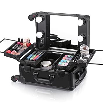 Ovonni Small LED Makeup Train Case, Lighted Rolling Travel Portable  Cosmetic Organizer Box with Mirror and 4 Detachable Wheels, Professional  Artist