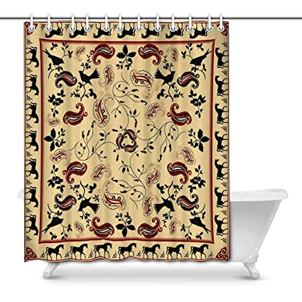 Amazon INTERESTPRINT Retro Bandana Art Decor Shower Curtain Set