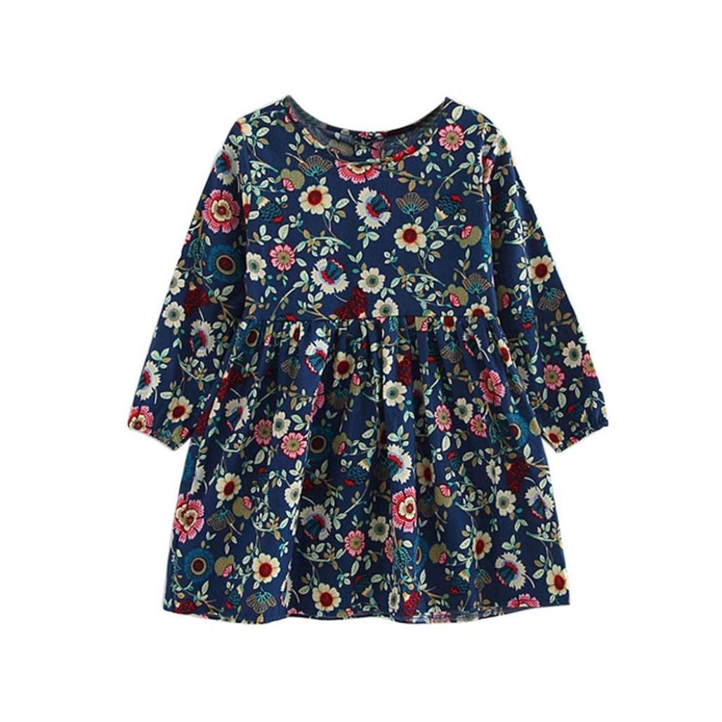 Kobay Kleinkind Baby M/ädchen Kleid Langarm Prinzessin Party Pageant Kleider Kinder Kleidung