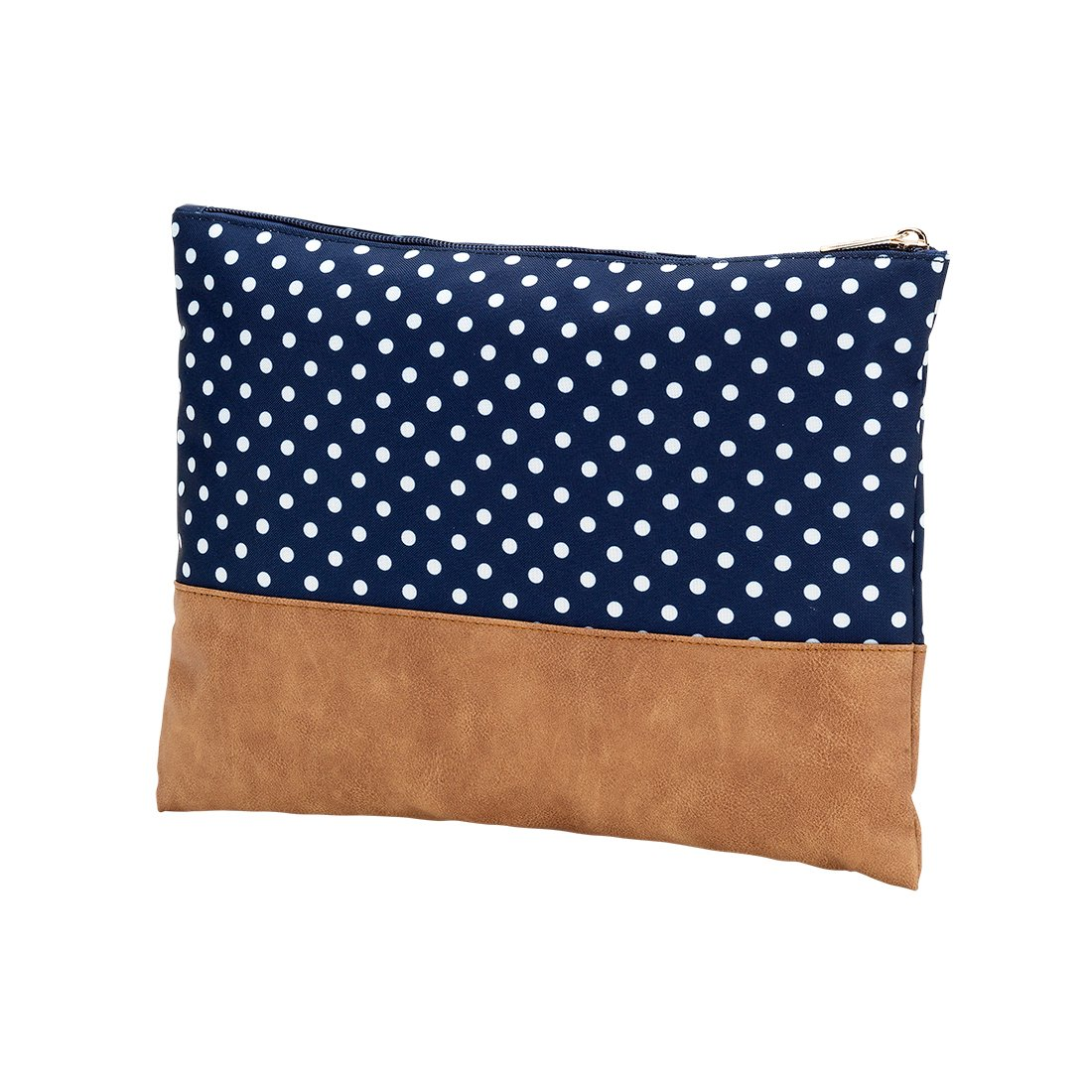 Navy Blue White Charlie Dot 12 x 9 Polyester Zippered Pouch Clutch