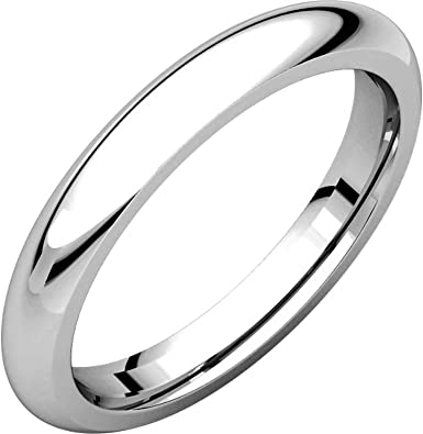 Mens and Womens 14k White Gold 3mm Wide Plain Wedding Band