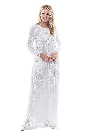 de3abb180e ModWhite Poppy White Temple Dress at Amazon Women's Clothing store: