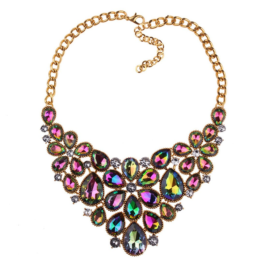 LOHOME Colorful Crystal Rhinestone Set Tassel Choker Statement Bib Necklace for Women