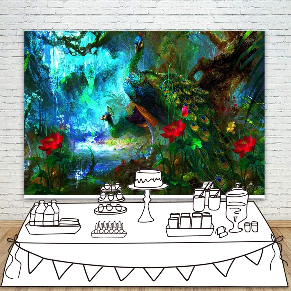 Photography Backdrop 7x5ft Fairtale Forest Photographic Background Wonder Peacock Red Flowers Backdrops for Wall Art Background Polyester