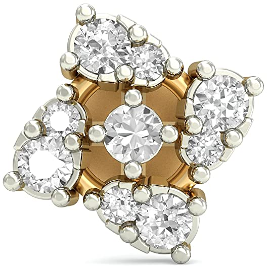 PC Jeweller The Illana 18KT Yellow Gold & Diamond Nose Pin Nose Rings at amazon