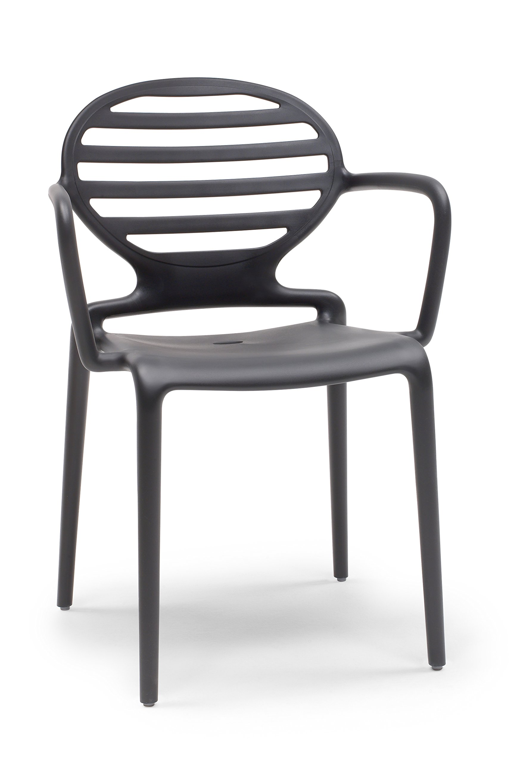 Parada One Design Cokka Modern Indoor/Outdoor Stackable Dining Chair, Anthracite Grey - Integral frame in recyclable techno polymer, in air molding reinforced with fiberglass Product is stackable Suitable for indoor and outdoor use - kitchen-dining-room-furniture, kitchen-dining-room, kitchen-dining-room-chairs - 71ECiTCHZ9L -