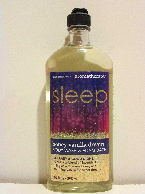 Bath and Body Works Aromatherapy Sleep Honey Vanilla Dream Lullaby Good Night Body Wash Foam Bath 10 Oz