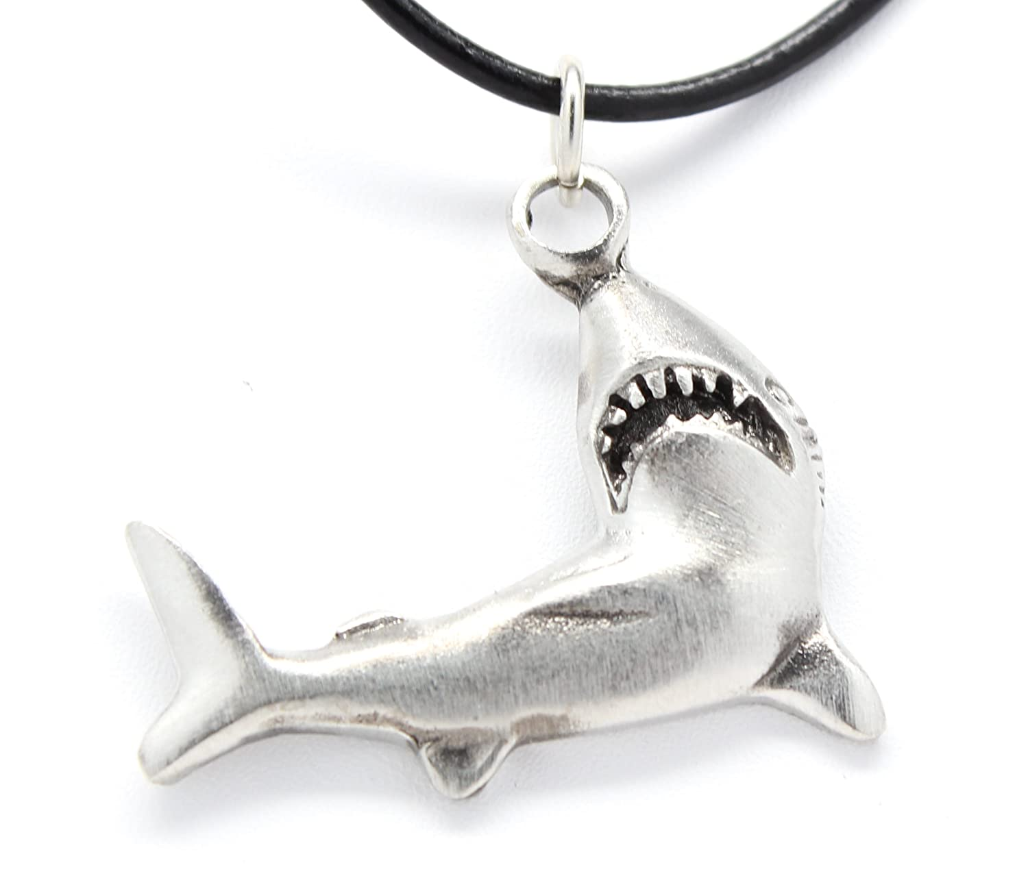 Pewter Shark Great White Jaws Pendant on Leather Necklace
