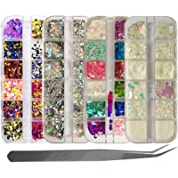 4Boxes 3D Butterfly Nail Glitter Flakes Holographic Silver Star Round Chunky Sequins Iridescent Nail Glitter Powder for…