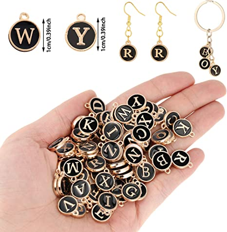 104 Pieces Mixed Letter Beads Enamel Metal Letter Charms Double Sided Initial Pendant A-Z Alphabet Charm for Necklace Bracelet Jewelry Making Black, Champagne, Green, Rose Red