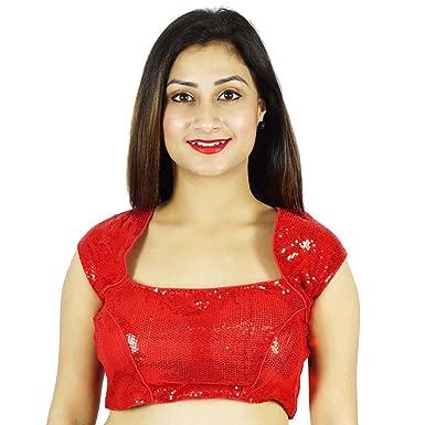 f0cf02414979 Phagun Designer Red Stitched Blouse Party Wear Dense Sequins Crop ...