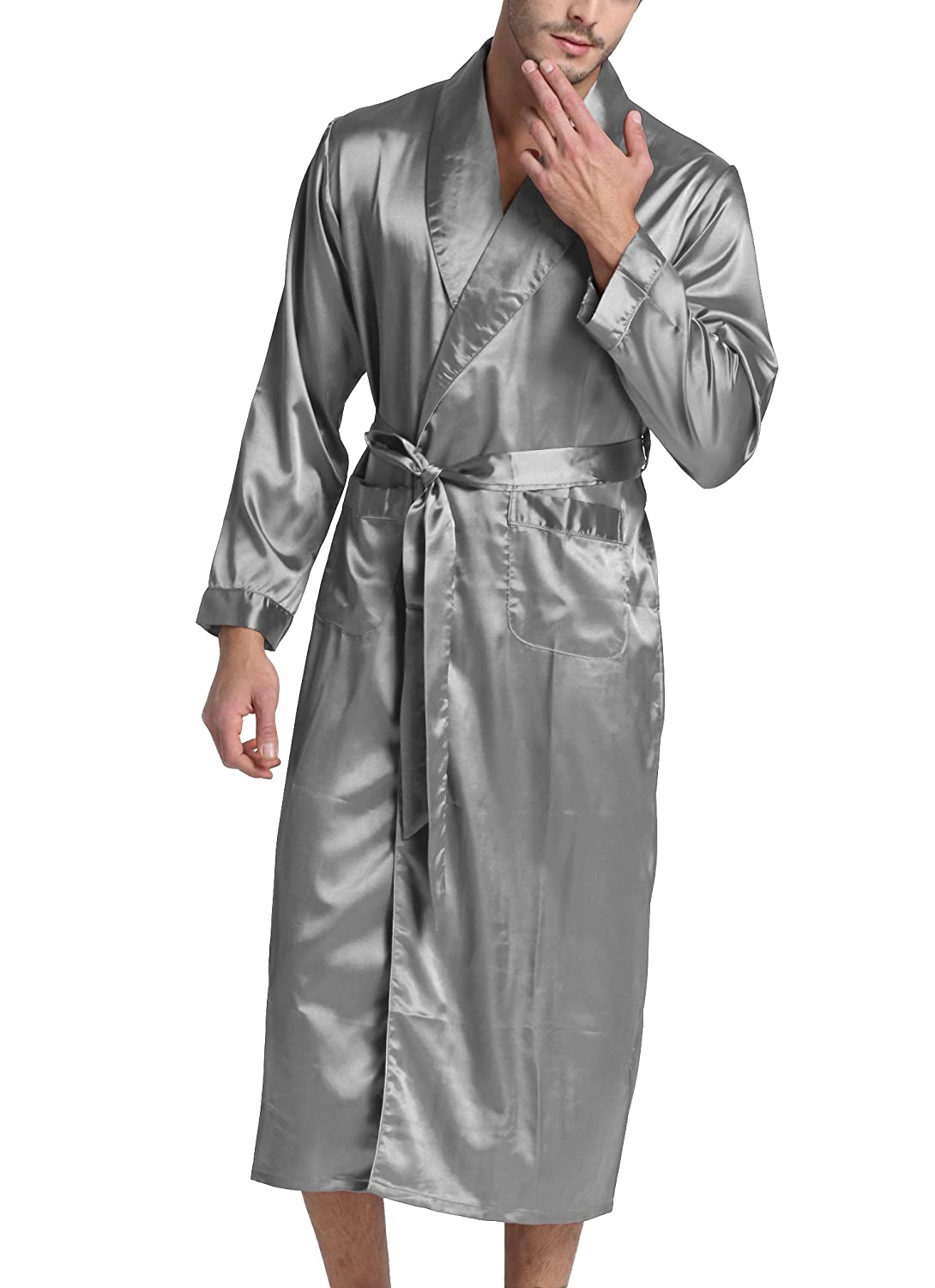 Sanraflic Men's Bathrobes Long Satin Robes Dressing Gowns Shawl Collar Nightwear Sleepwear