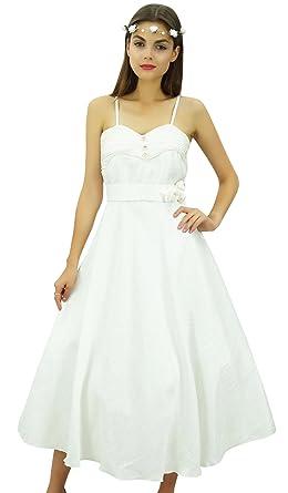 Bimba Womens Chic Spaghetti Strap Designer Wedding Midi Party Prom Dress