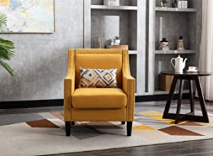 Accent Chair with Small Pillow, Mid Century Armchair with Decorative Nailheads and Solid Wooden Legs, Modern Chairs for Living Room and Bedroom, Yellow