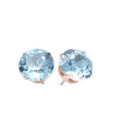 pewterhooter 925 Sterling Silver stud earrings expertly made with Caribbean Blue Opal crystal from SWAROVSKI® London box. wsXM6Vxdgr