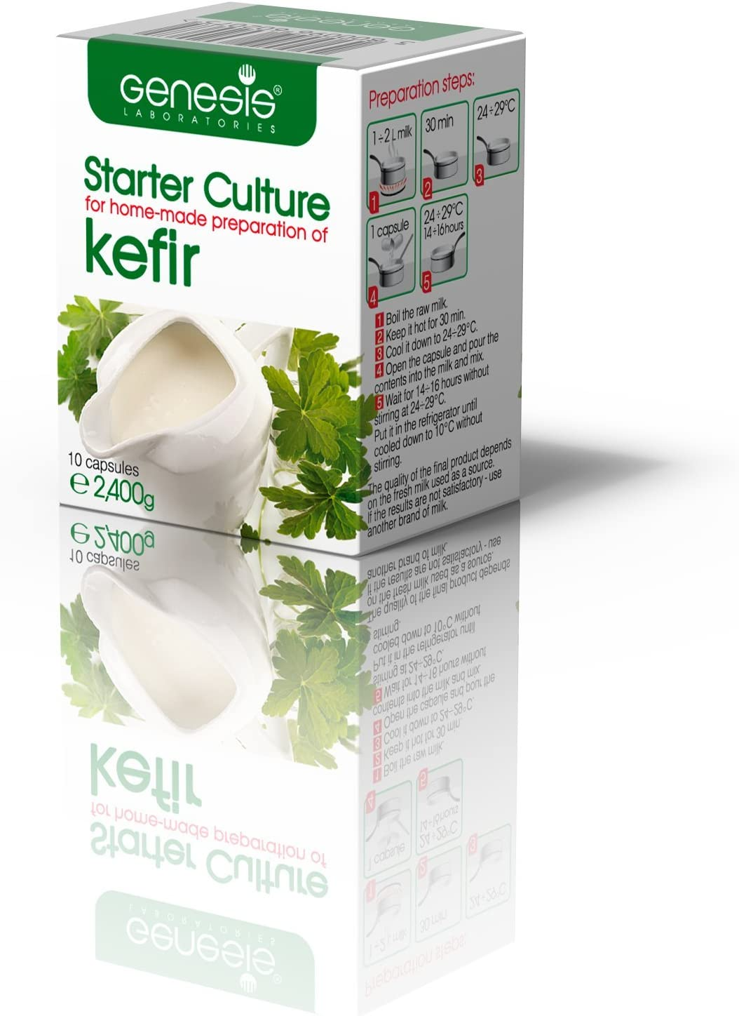 Kefir Starter Culture for Home-Made/Natural, Organic/ - 10 Capsules for 20 liters