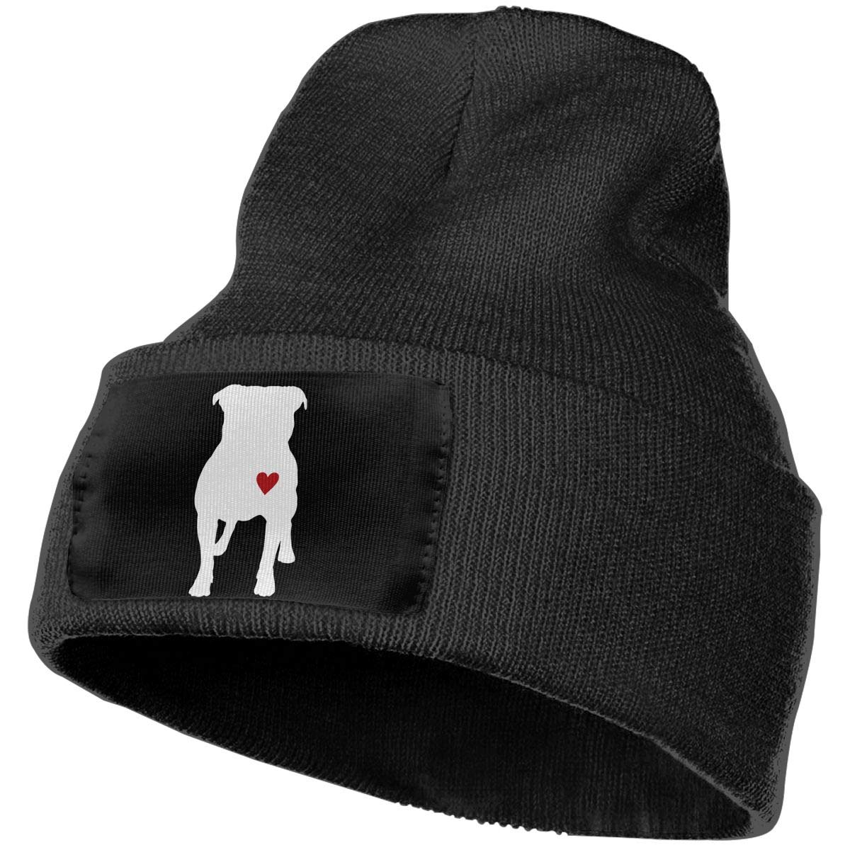 Mens and Womens 100/% Acrylic Knit Hat Cap Pitbull Silhouette Soft Skull Cap