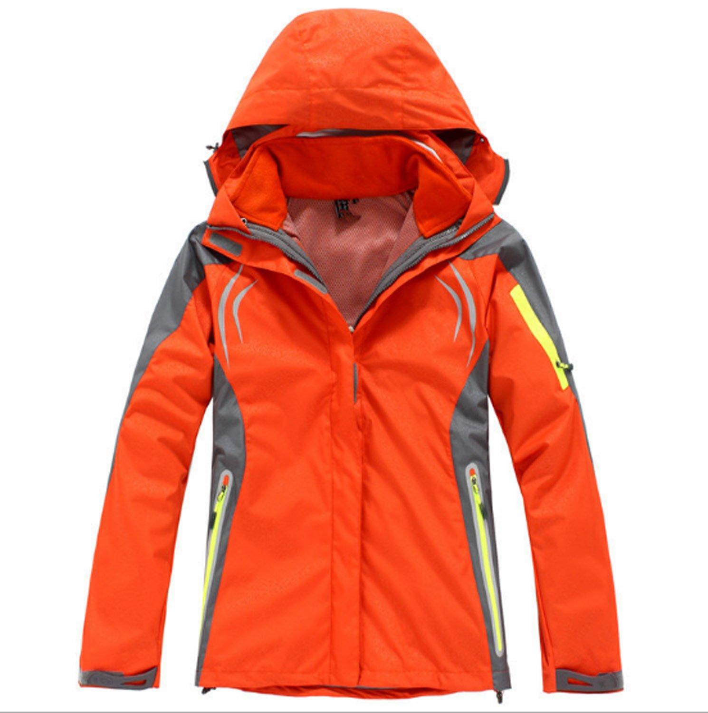 Orange XXL Huaishu Veste Imperméable à l'eau en Plein Air à Capuchon Softshell Camping Randonnée Alpiniste Vestes De Voyage Chaud Imperméable à l'eau Sportwear