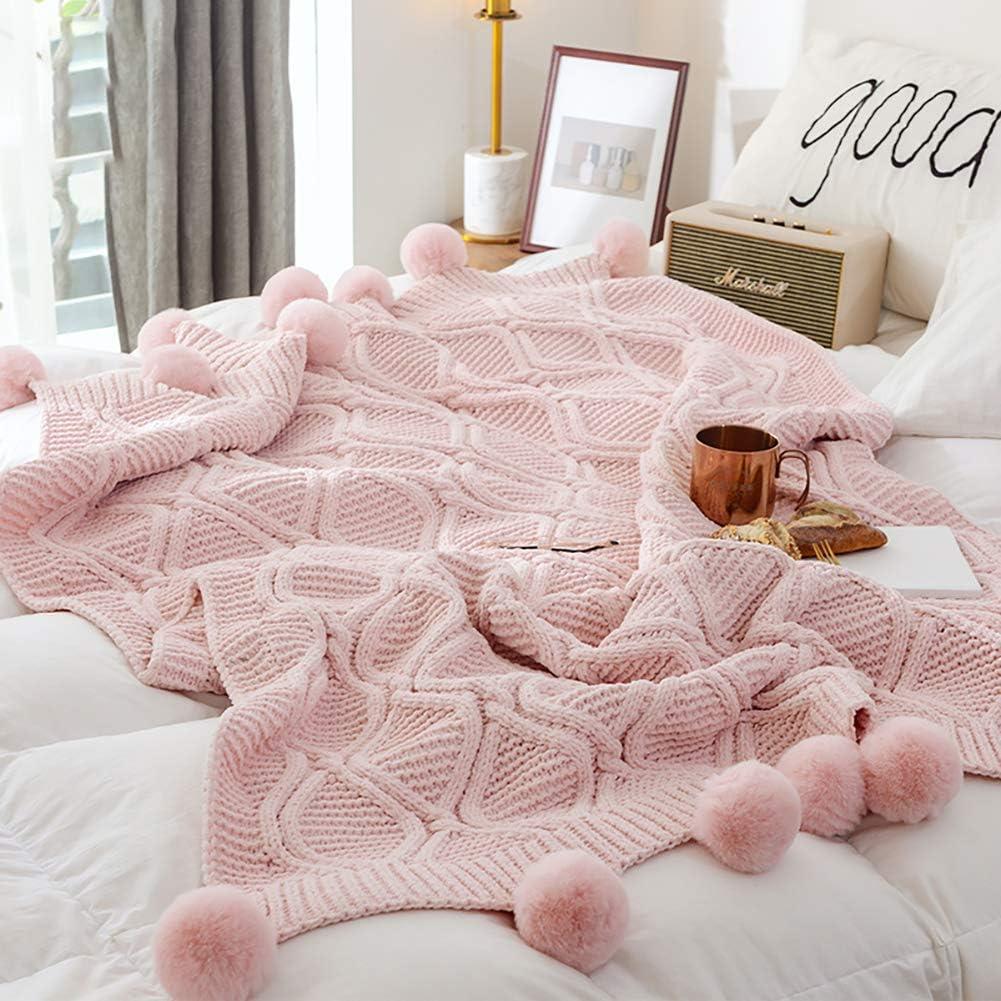 Suave y Gruesa decoraci/ón del hogar Color Rosa para sof/á 50 x 60 DELIBEST Manta Tejida con Pompones Blanco 50x 60 Cama