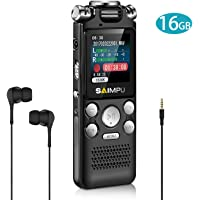SAIMPU Voice Recorder Dictaphone 16gb Digital Voice Recorder with Mp3 Player Spy Voice Recorder Recording Device for Lectures, Professional Noise Reduction Rechargeable USB Voice Activated Recorder