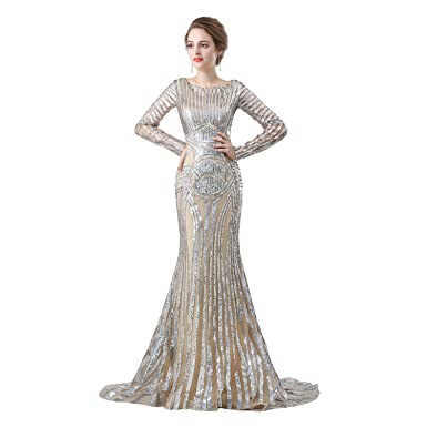 ZYLLGF Long Sleeve Sequins Evening Dresses 2018 Mermaid Prom Dresses Party Gown