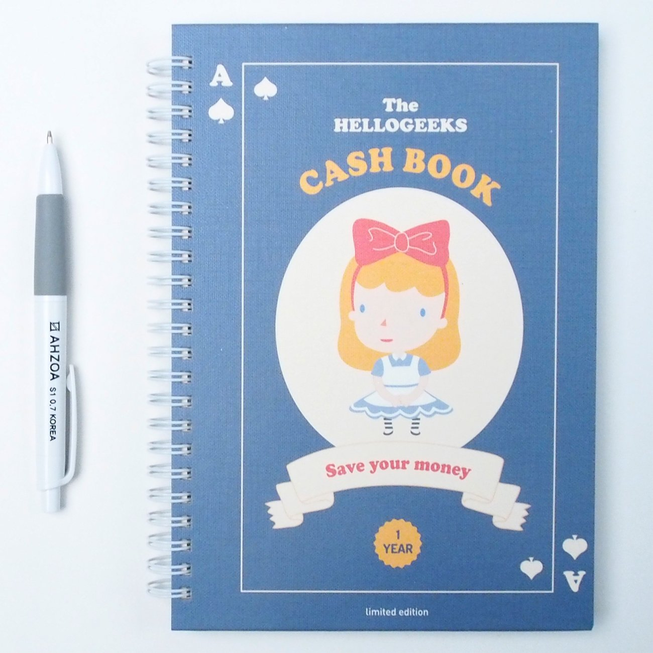 Financial Planner - Hellogeeks Cash Book for 1 Year with AHZOA Pencil, Account Book, Wirebound Type, Hardcover 176 Pages (Navy)