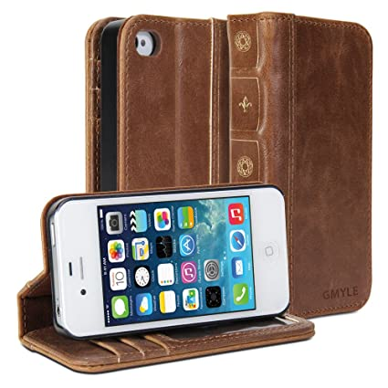 b12d400605 GMYLE Book Case Vintage for Apple iPhone 4 4S - Brown Classic [Crazy ...