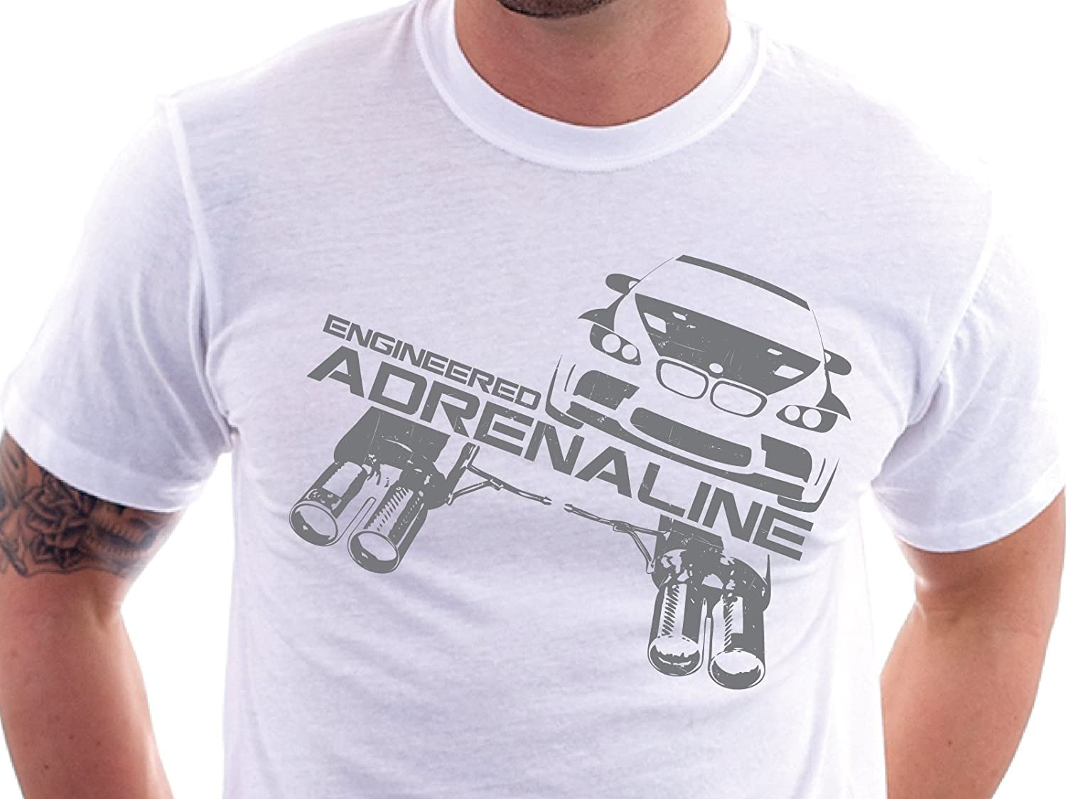aFe Power Tee Shirt with BMW Exhaust Logo White, X-Large