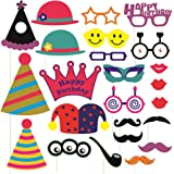SYGA Party Props Birthday Theme Paper Craft Item, Multi Colour (Set of 24)