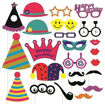 SYGA Party Props Set Of 24 Birthday Theme Paper Craft Item Amazonin Toys Games