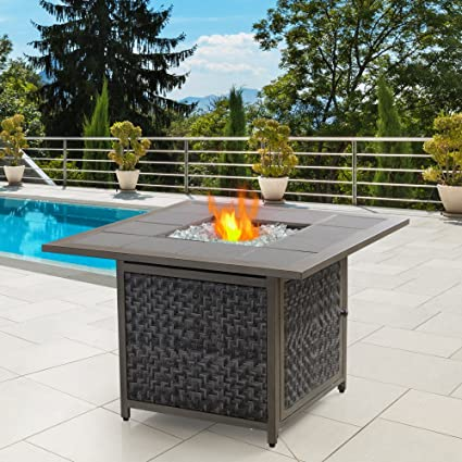 Nuu Garden Outdoor 37u201d Patio Square LP Gas Rattan Wicker Tile Top Fire Pit  Table