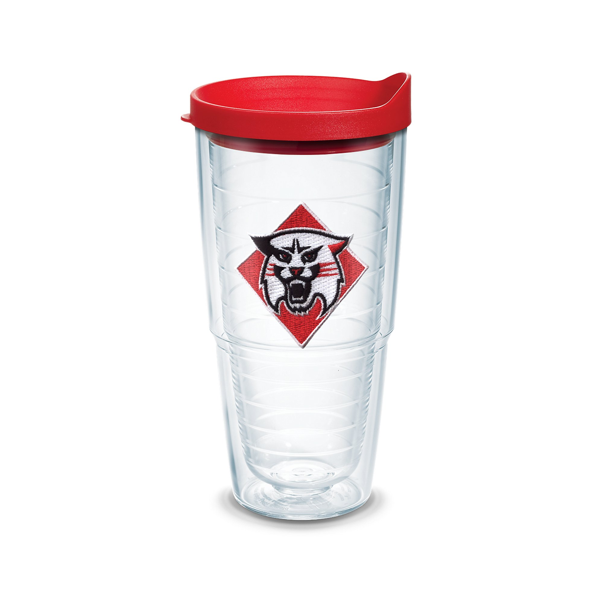 Tervis 1078572 Davidson College Emblem Individually Boxed Tumbler with Red lid, 24 oz, Clear
