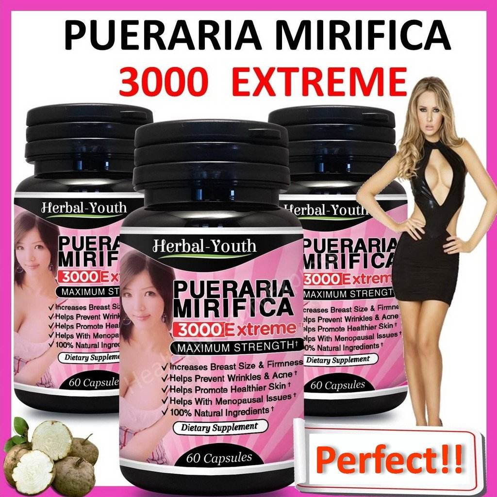 3 x BOTTLES PUERARIA MIRIFICA 3000 BUST FIRMING BREAST ENLARGEMENT CAPSULES