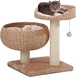 PetPals Paper Rope Natural Bowl Shaped with Perch Cat Tree