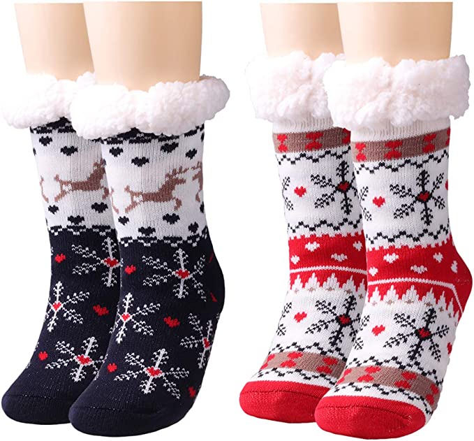 UK Women Thicken Thermal Fleece Floor Sock Winter Warm Christmas Slipper Socks