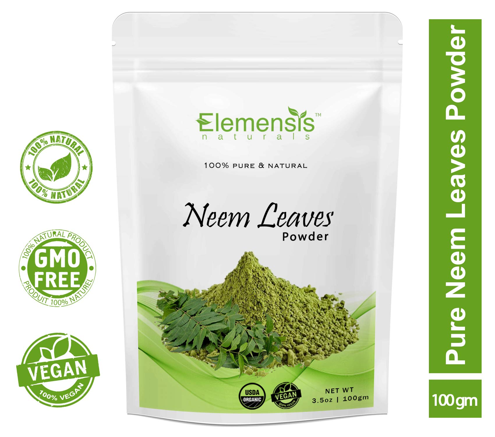 Elemensis Naturals 100% Pure & Natural Neem Leaves Powder for Pimple