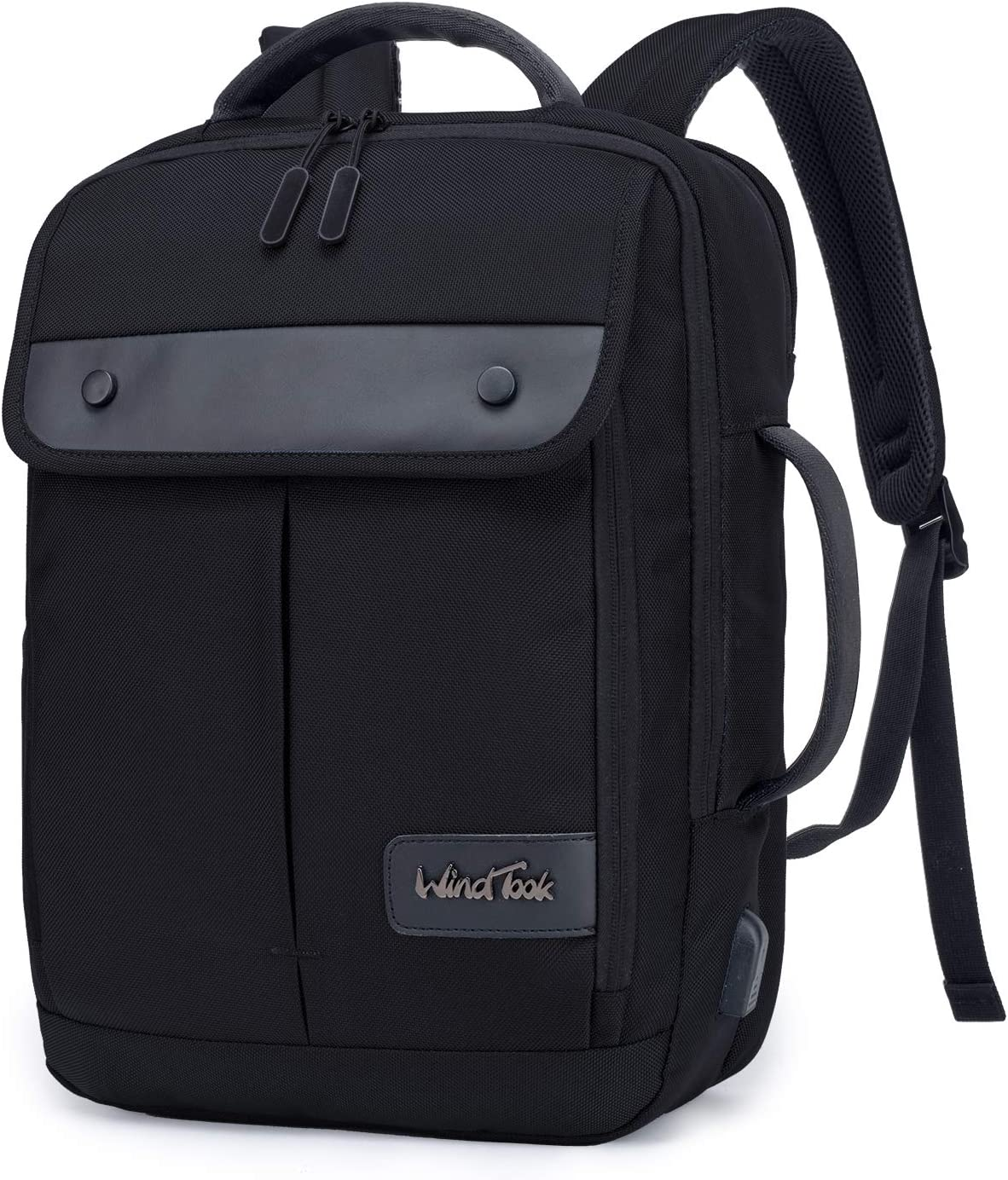 WindTook Mochila Ordenador portatil 15.6 Pulgadas Mochila de Hombre Trabajo con Puerto de Carga USB Mochila de Negocios Adecuado para Viajes Trabajo Escolares Negro