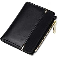 JOSEKO Wallet Ladies PU Leather Wallet Multi Slots Small Wallet Slim Card Holder Zipper Coin Mini Purse For Women Girl Kids Black One_Size