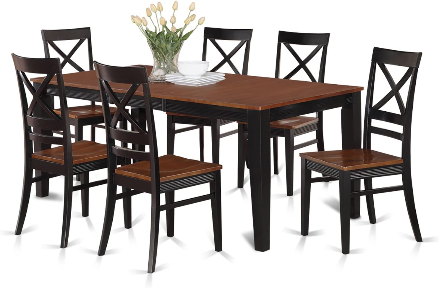 QUIN7-BLK-W 7 Pc Dining set-Table and 6 Kitchen Chairs